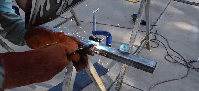 welding a steel gate